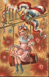 Girl Lighting Fireworks: 4th of July Postcard
