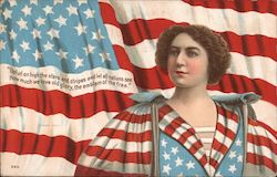 Woman Dressed in Flag Dress Postcard