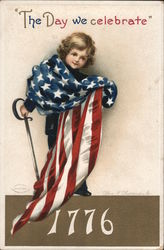 Child With Flag: The Day We Celebrate 1776 Postcard