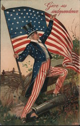 Uncle Sam with Flag: Give Us Independence Postcard