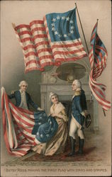Betsy Ross Making the First Flag with Stars and Stripes Postcard