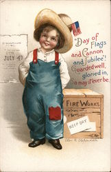 Young Boy in Overalls Postcard