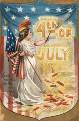 4th of July: Girl Holding Flag Postcard