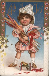 4th of July: Boy with Fireworks Postcard