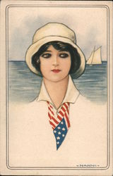 Woman Wearing Flag Scarf Postcard