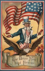 Uncle Sam with Flag: The Union Now and Forever Postcard