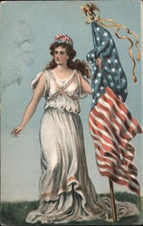 Lady Liberty with Flag Postcard