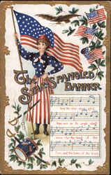 Woman Holding Flag: The Star Spangled Banner Postcard