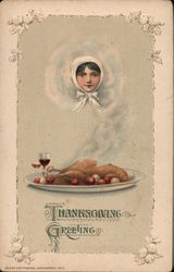 Thanksgiving Greetings Stone Lithograph Postcard