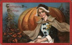Pilgrim Girl and Pumpkin - Thanksgiving Day Greetings Postcard