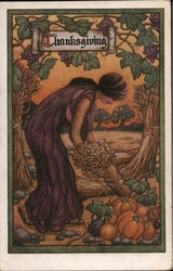 Nouveau Woman Harvesting Food for Thanksgiving Postcard