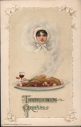 Woman in Steam Off Turkey - Thanksgiving Greetings Postcard