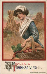Woman Gathering Thanksgiving Food - A Peaceful Thanksgiving Postcard