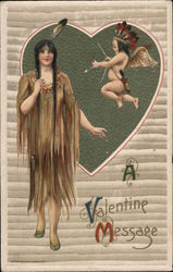 A Valentine Message - Indian Girl and Cupid Postcard