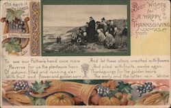 Pilgrims at Beach, Praying - Best Wishes for a Happy Thanksgiving Postcard