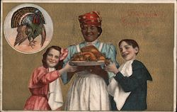 Family Serving Thanksgiving Dinner Postcard
