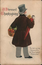 Man Bringing Home Groceries in Basket: A Blessed Thanksgiving Postcard