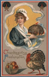 Woman Serving Thanksgiving Dinner - Thanksgiving Proclamation Postcard