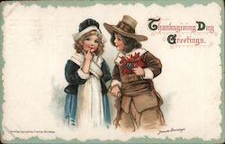 Thanksgiving Day Greetings - Two Pilgrim Children Postcard