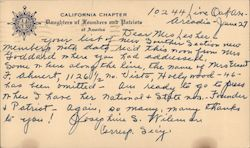 California Chapter, Daughters of Founders and Patriots Correspondence Card Postcard
