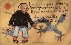 Chinese Man and Dragon Postcard