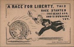 A Race for Liberty: Man Chasing Coins Postcard