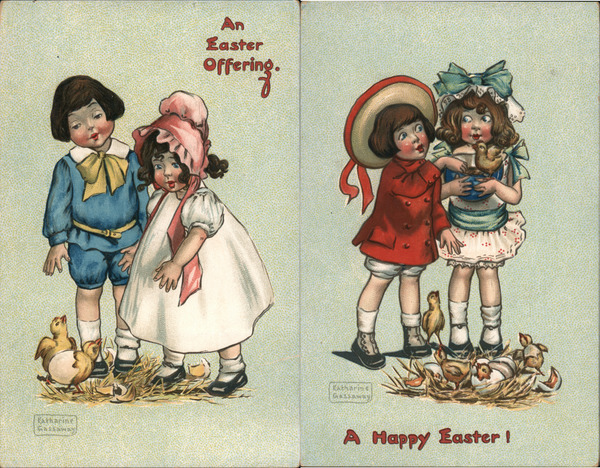 Set of 2: Children with Easter Chicks Katharine Gassaway