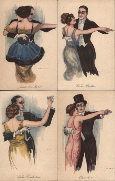 Set of 4: Art Deco Couples Dancing Giovanni Nanni Artist Signed