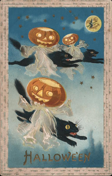 Hallowe'en - Ghosts with Jack O' Lantern Heads Riding Black Cats