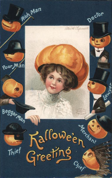 Halloween Greetings - A Woman with a Pumpkin Hat Ellen Clapsaddle