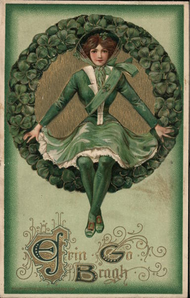 Erin Go Brach - Woman in green surrounded by clovers