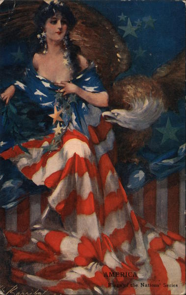 America - Woman with Flag Dress and Eagle Patriotic