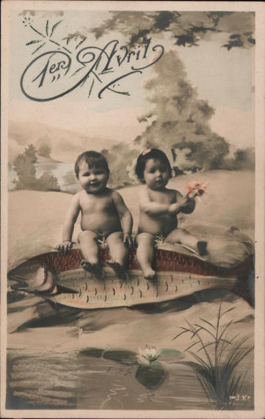 1er Avril: Children Riding Large Fish April Fools Day