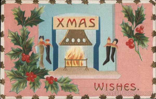 Xmas Wishes - Fireplace with Stockings Christmas