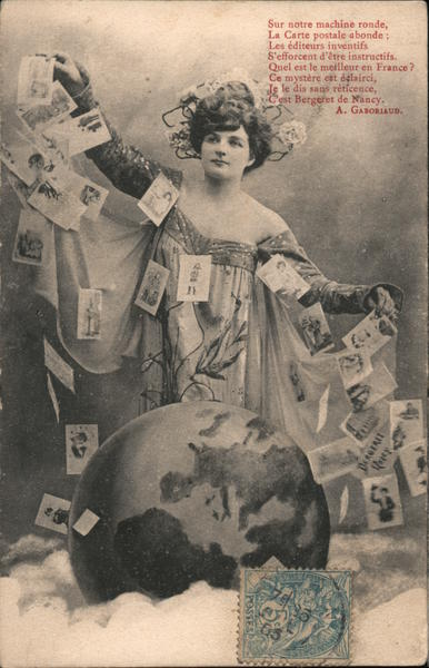 Woman Wearing Dress Covered With Postcards Postal