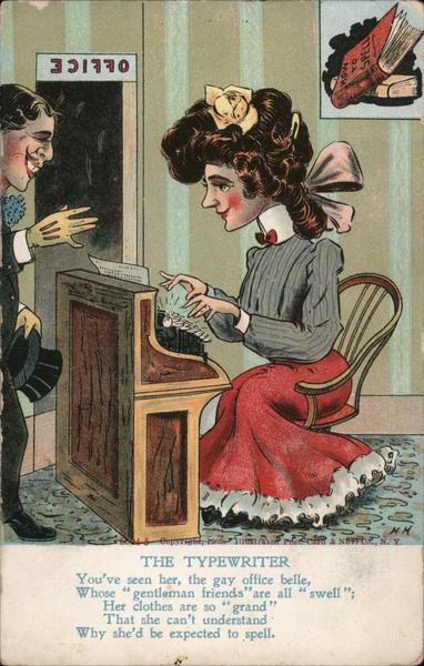 The Typewriter - Woman at Type Writer Comic, Funny