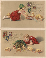 Set of 2: Girl with Easter Chicks Postcard