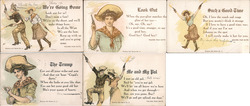Set of 5: Western Girl Series, Cowgirl with Guns, Sharpshooter Postcard