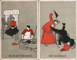 Set of 2: Nice to Be Married / Who Said Divorce Postcard