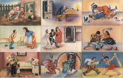 "Set of 9: Mexican ""Fema"" Series - Women & Men Fighting Postcard"