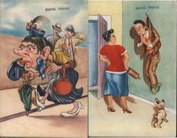 "Set of 2: Mexican ""Fema"" Muzzled Woman, Wife with Rolling Pin Postcard"