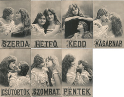 Complete Set of 7: Rare Hungarian Days of Week Girls Kissing, Lesbian Interest Postcard