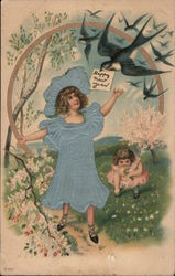 Happy New Year - Young girls outside with swallows Postcard