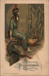 Sincere Thanksgiving Greetings - Indian Girl with Turkey & Pumpkin Postcard