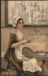 Happy Thanksgiving - A Girl in a Pilgrim Outfit Postcard