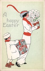Happy Easter - Spring Flowers and Fancy Hats Postcard