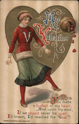My Valentine - Girl with Football Postcard