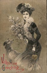 Valentine Greeting - Fancy Dress, Bouquet, and Hound Postcard