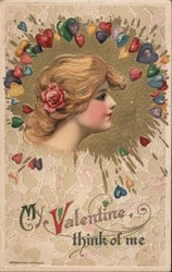 My Valentine Think of Me Postcard