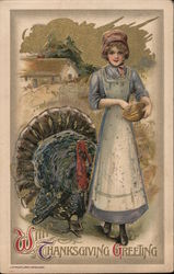 With Thanksgiving Greeting - Woman with Turkey Postcard